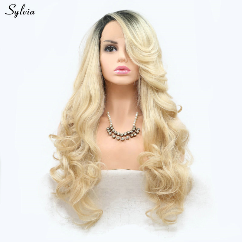 Sylvia Natural Wave Blonde Wig Long Synthetic Hair Lace Front Wigs for Lady Women Girl Dark