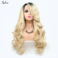 Sylvia Natural Wave Blonde Wig Long Synthetic Hair Lace Front Wigs for Lady Women Girl Dark Roots to Gold/Blond High Temperature