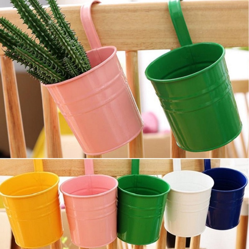 1 Piece Iron European Balcony Fence Iron Tin Hanging Flower Pot Candy Color Plant Pot Removable Hook Metal Flower Bucket Tub
