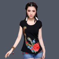 National Trend 2017 Fashion Women Summer Plus Size Clothing Female Embroidery Flower Slim Short Sleeve Slim
