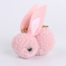 Lovely Rabbit Felt Fur Ball Keychains Headset Bag KeyringsPurse Pendant For Car Women Key Chains