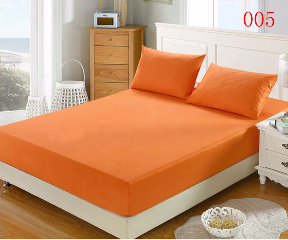 Double Bed Fitted Sheet Us 34 99 Orange Home Fitted Sheet Single Double Bed Sheets Fitted Cover Twin Full Queen Bedspread Fitted Bedsheet 120x200cm 180x200cm In Sheet From