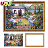 DPF Diamond Embroidery With Frame Garden Chair 3d Diamond Painting Cross Stitch Full Round Diamond Mosaic