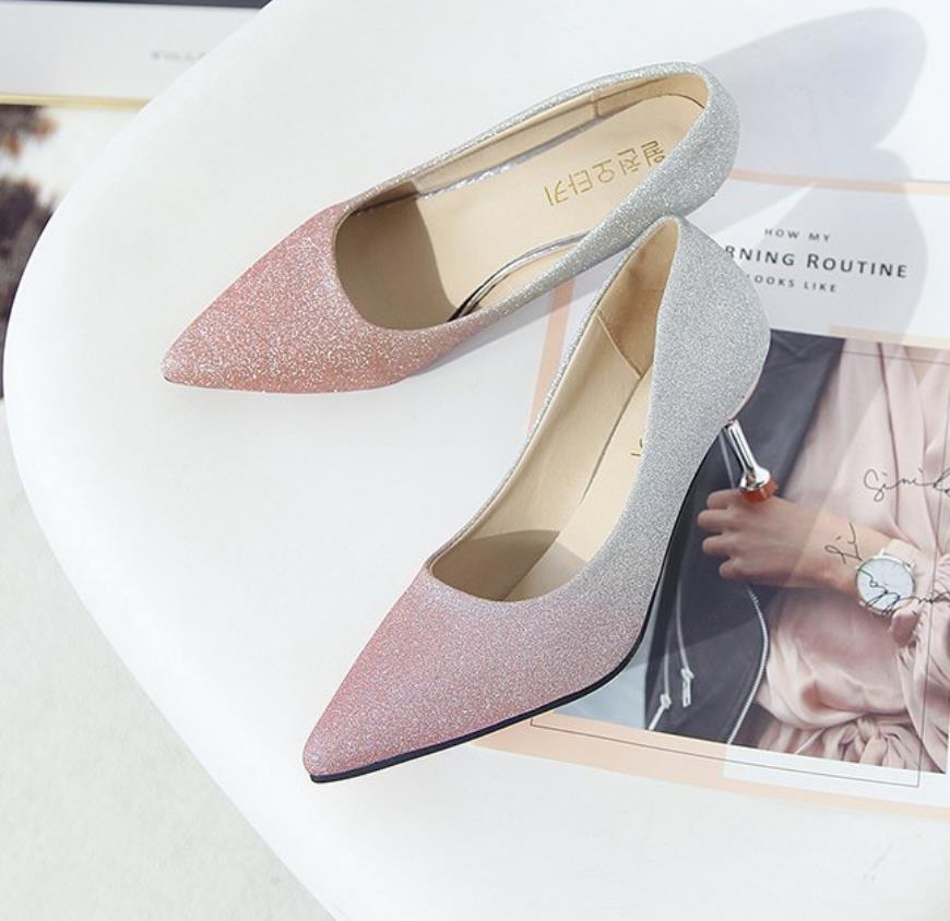 Haute Et D'orteil Dégradé Avec Coréen 2019 gris rose Kelly Talon Mince Style Sac Bleu Argent Nouveau En gybf67