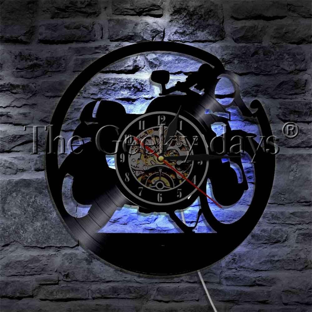 купить 1Piece Racer Motorbike Silhouette Wall Lamp Vinyl Record Wall Clock With LED Backlight Wall Watch For Motorcycle Rider Gift по цене 1291.95 рублей