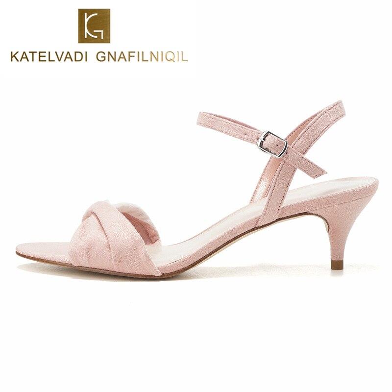 lo último 43aa6 7803c KATELVADI verano sandalias de las mujeres dulces 5,3 CM de alto tacón  Zapatos rebaño tobillo Correa ...