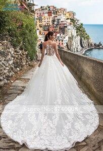Image 2 - Sexy A Line Wedding Dresses 2019 Appliques Vestido De Novia Gorgeous Beading White Bridal Gown Bride Dress