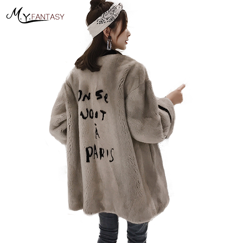 Manteaux Fansty2017 Vison Hiver Lettre Motif Perte O M Longues Importation rose Moyenne Ardoisé Manches Lignes De Fourrure Femme Manteau Véritable Y cou Fwxpzq5H