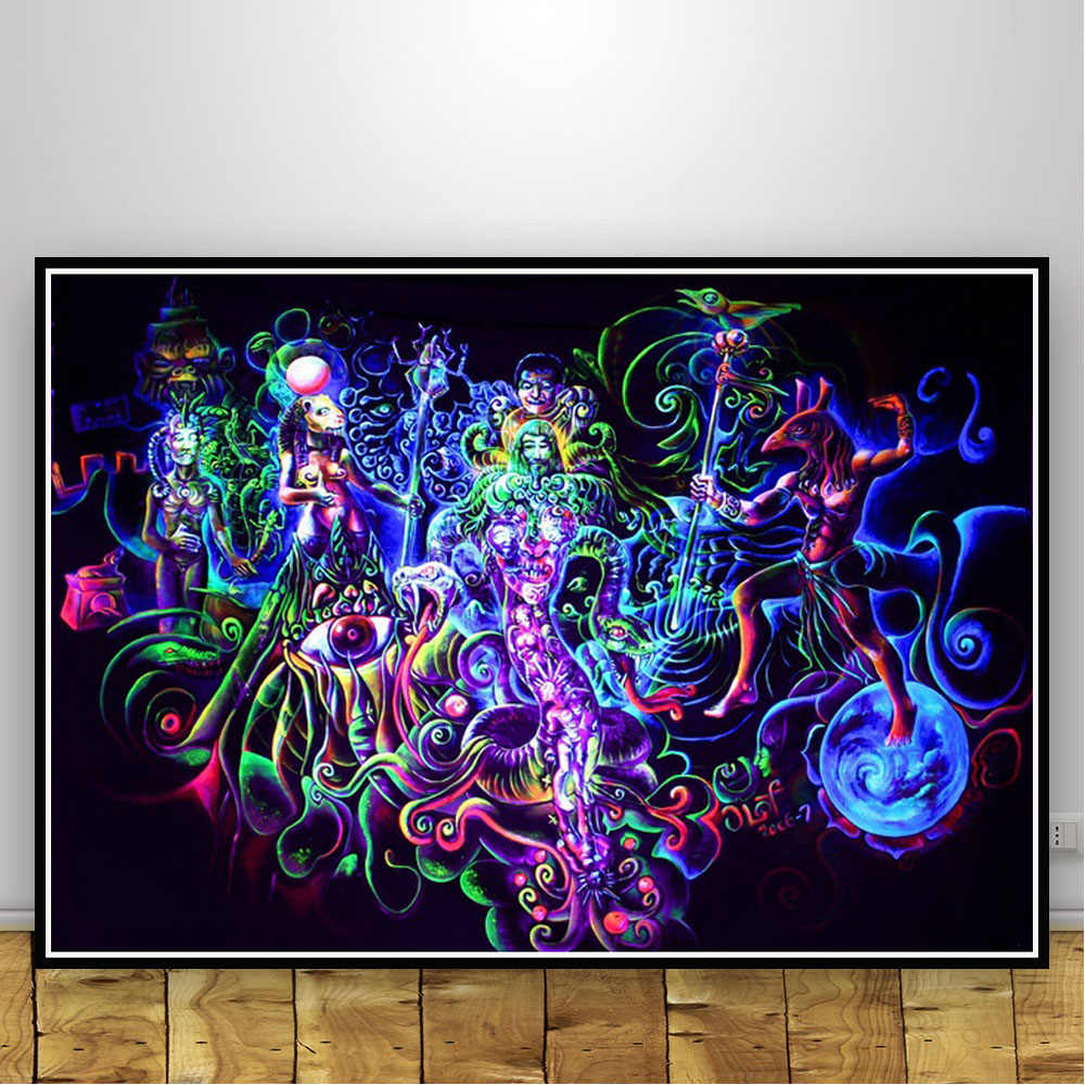 Abstract blacklight modern art paintings psychedelic trippy poster and prints canvas wall pictures for living room home decor