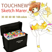 TOUCHNEW 30 40 60 80 Color Art Markers Set Material For Drawing Alcoholic Oily Based Marker