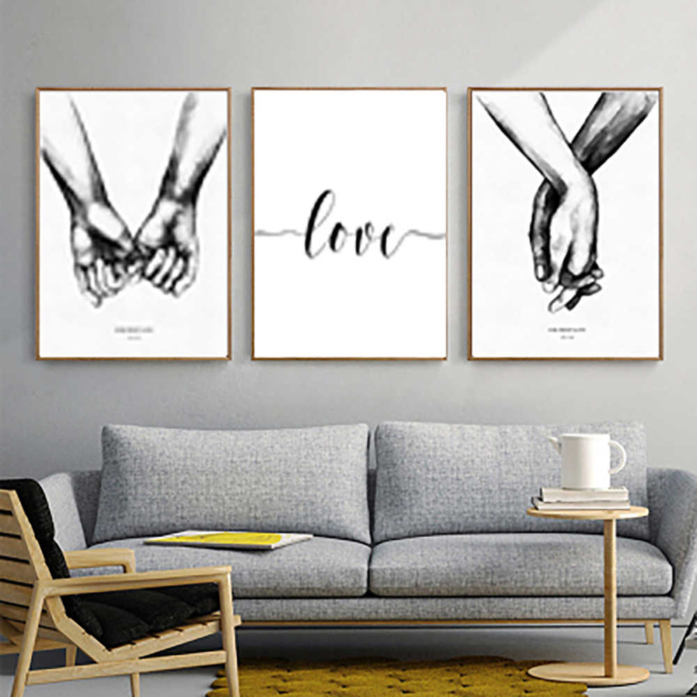 Black white style sweet love art canvas painting Home bedroom decor painting No picture frame hotel gallery Valentine's Day gift