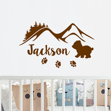 Mountains Beer Children Nursery Personalized Name Wall Sticker Cute Beauty Fashion Decoration Baby Room Decor LY1726