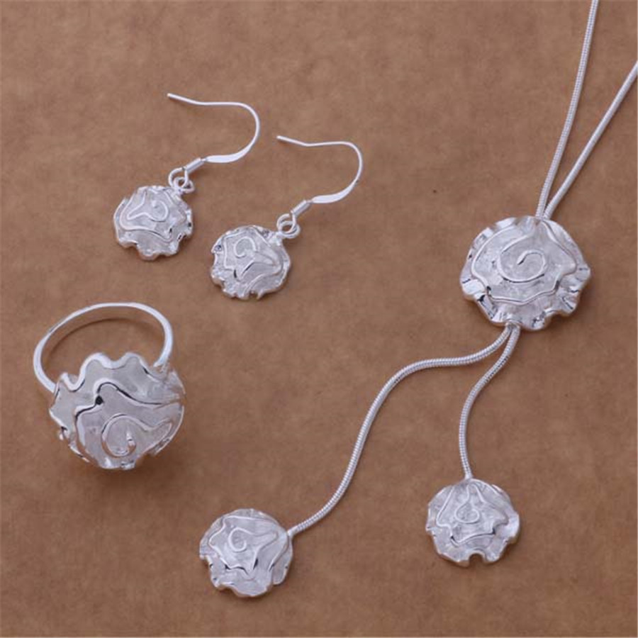 Factory Direct silver plated jewelry fashion noble women classic necklace Earrings Ring Jewelry Sets sweet style AT201