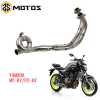 ZS MOTOS 51mm Motorcycle Middle Front Pipe Exhaust Muffler For Yamaha MT 07 MT07 2013 2017