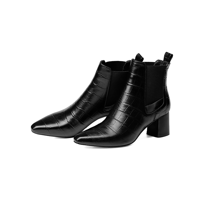 2018 Autumn new style genuine leather ankle boots pointed toe thick heel chelsea boots calf leather women boots ladies shoes in Ankle Boots from Shoes