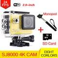 """WiFi Ultra 4 K 24fps HD Ação Esporte Camera Mergulho 30 M À Prova D' Água Debaixo D' Água 2.0 """"170D lente Capacete Cam monopé + 8G Cartão"""