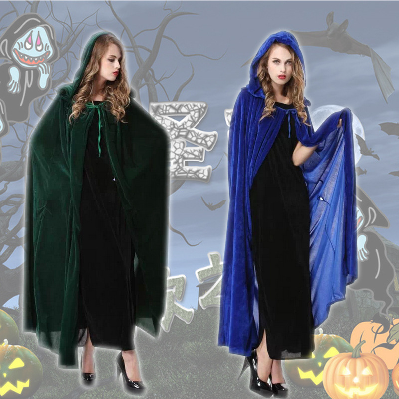New Women Halloween Cloak masquerade cosplay costume clothing witch Elf wizard cape clothes blue green Carnival party