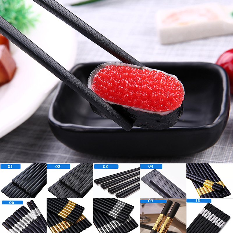 Non-Slip Chinese Chopsticks Durable Alloy High Quality Portable Sushi Chop Sticks Set Chopstick beginner Chinese food Lover Gift image
