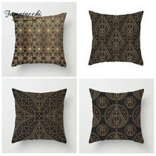 Fuwatacchi Gold Black Moon Printed Cushion Cover Endless Pillow Geometric Flower Decorative Pillowcase for Home Sofa