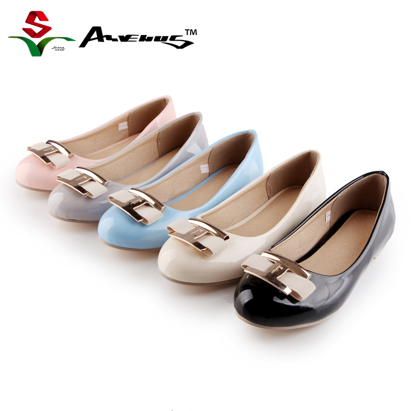 Anvenus Fashion Women Cute Bow Comfortable Round Toe Flats Lady Leisure Daily Wear Leather Slip-on Office Shoes Plus Size 35-45