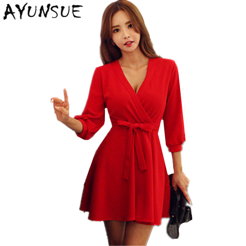 8d9cae4b0b V-neck Robe Sexy Slim Lantern Sleeve Red Dress Summer Plus Size Dresses For  Women