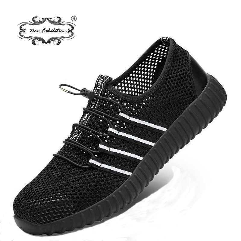 New Exhibition Fashion Safety Shoes Men's Breathable Mesh Anti-smashing Piercing Lightweight Steel Toe Cap Wear Site Work Shoes