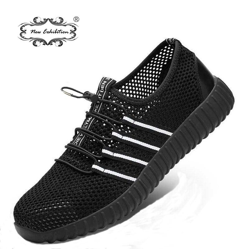 Nova exposição de Moda malha respirável anti-esmagamento sapatos de segurança dos homens biqueira de aço piercing leve desgaste local de trabalho sapatos