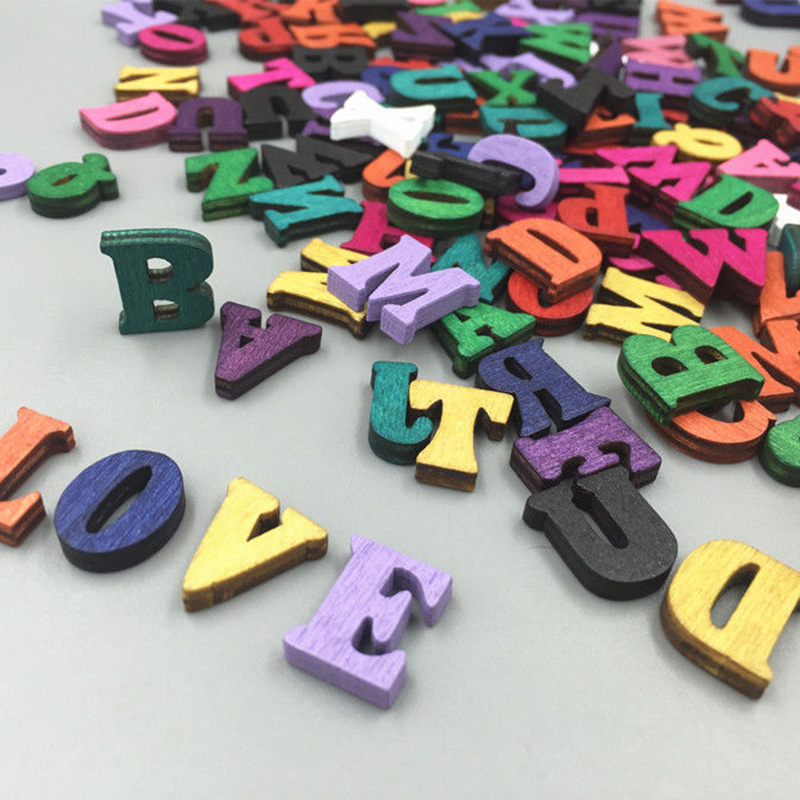 100pcs Wooden Letters Alphabet Sticker Cardmaking Craft DIY Decor Embellishments