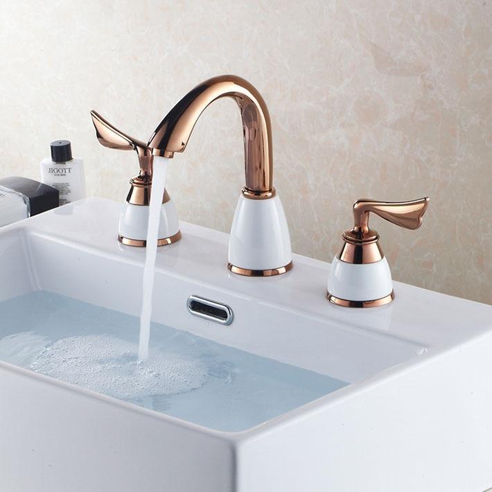 Mini-widespread 3PCS Rose Gold Color 3pcs Bathroom Sink Faucet Dual Handles Mixer Tap antique brass widespread bathroom faucet 3pcs 8 sink mixer tap dual handles