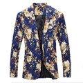 Homens blazers florais 2017new designer marca moda vintage magro custom fit linho flor casual vestido do terno de negócio blazer