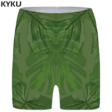KYKU Leaf Shorts Women Green Casual Short Pants Beach 3d Printed Anime Ladies Womens New Fashionable High Waist