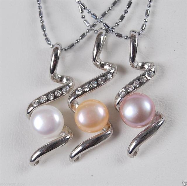 Venda Hot new Style >>>>> 3 PCS 8-9mm Branco, rosa, roxo pérola de Água Doce Pingente de Prata Colar de corrente
