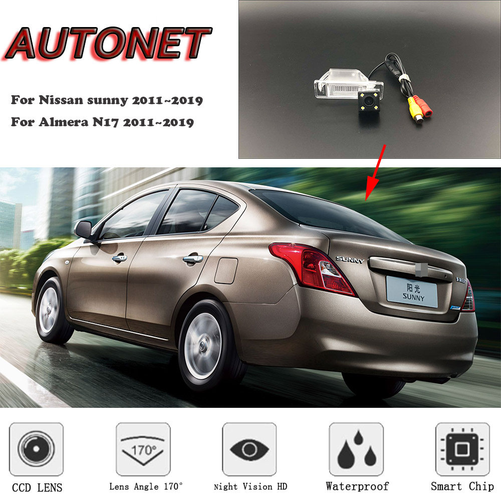 AUTONET Backup Rear View Camera For Nissan Sunny 2011~2019 For Almera N17 2011~2019 CCD/HD Night Vision License Plate Camera