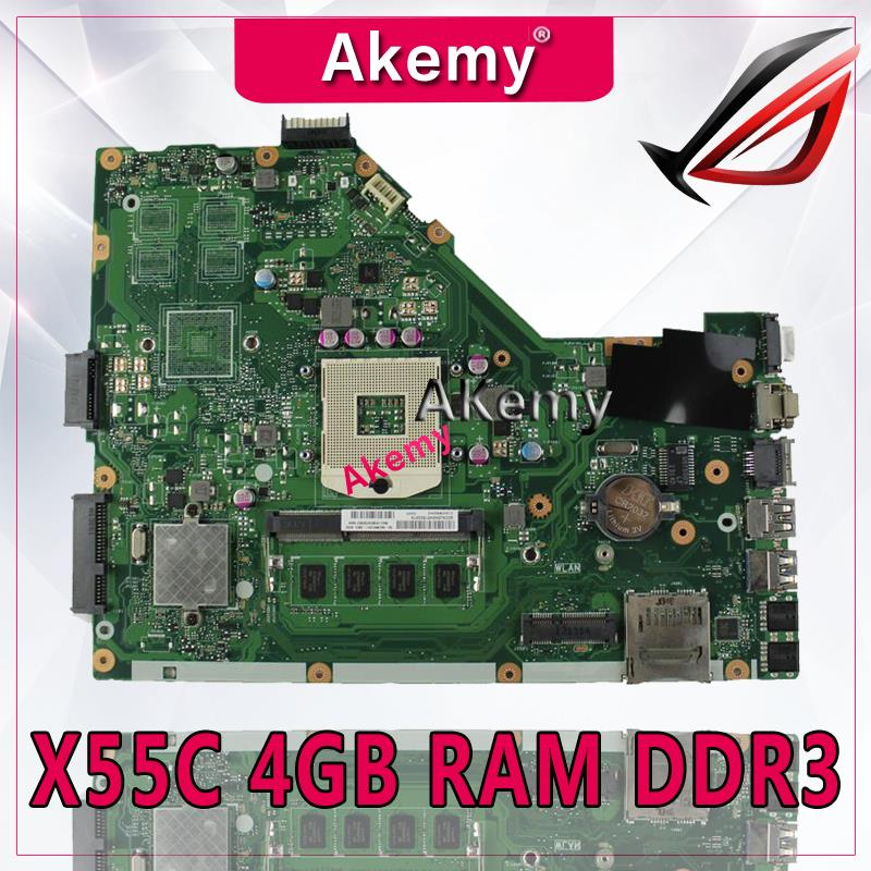 Akemy X55C Motherboard 4GB RAM HM76 For ASUS X55C X55CR X55V X55VD Laptop motherboard X55C Mainboard