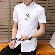 2018 Summer hot sale shirt men brand clothing Korean preppy style short  sleeve floral embroidery cotton male camisa plus size 377cf12a6495