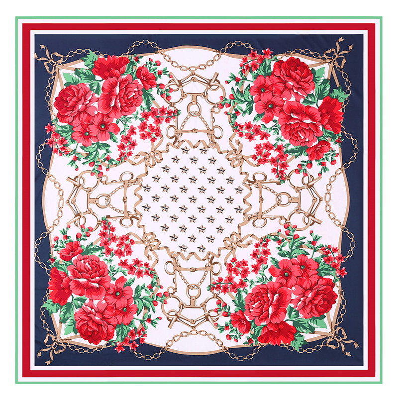 POBING Luxury Brand 100% Twill Silk   Scarf   Women Key Chain Print Square   Scarves   Echarpes Large Foulards Femme   Wrap   Bandanas 130CM