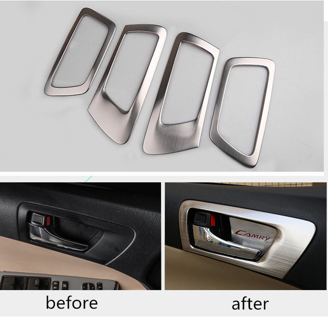 For Toyota Camry 2015 Auto Part Inner Door Handle Cover Interior Door Handle Protector Stainless Steel 4Pcs Per Set