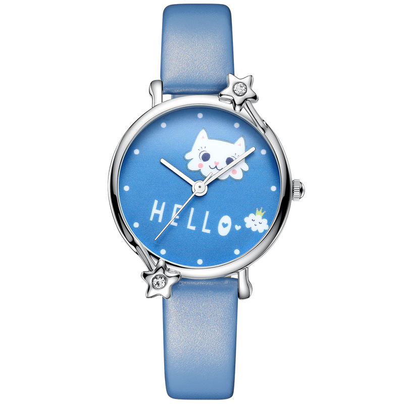 KDM Lovely Kid Children Watches Cute Cat Child Watches Kids Watch Waterproof Genuine Leather Wristwatch Student Girls Clock