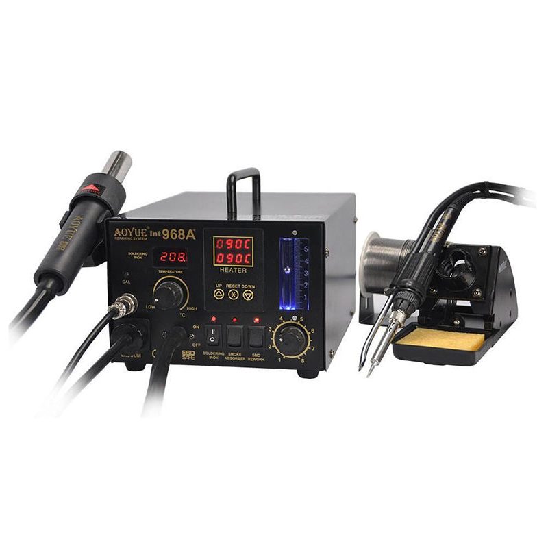 Free Shipping AOYUE 968A+ SMD soldering station Hot Air Gun Solder Iron Smoke Absorber 3 in 1 dual digital display цена