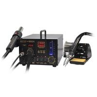 Aletler'ten Lehimleme İstasyonları'de Ücretsiz kargo AOYUE 968A + SMD lehimleme İstasyonu sıcak hava tabancası lehim demir duman emici 3 in 1 çift dijital ekran