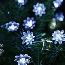 6M 30LEDs Fairy Lotus Flower LED Solar Lamp Outdoor Waterproof Decoration Christmas Garden Holiday Solar Power String Lights