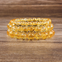 Lingxiang Size 6mm-10mm yellow hand-beaded natural stone bracelet amulet for men and women