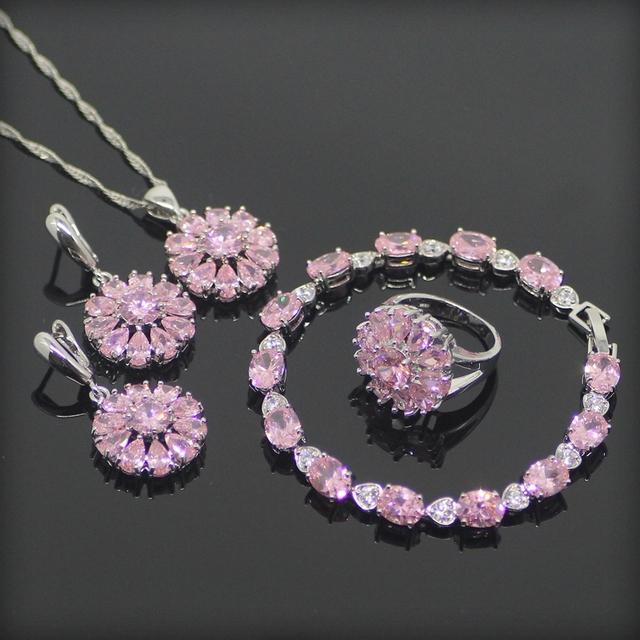 Clássico Rosa Criado Topázio Prata Esterlina 925 Conjuntos de Jóias Para As Mulheres Pulseiras/Brincos/Pingente/Colar/Anéis Caixa de Presente livre