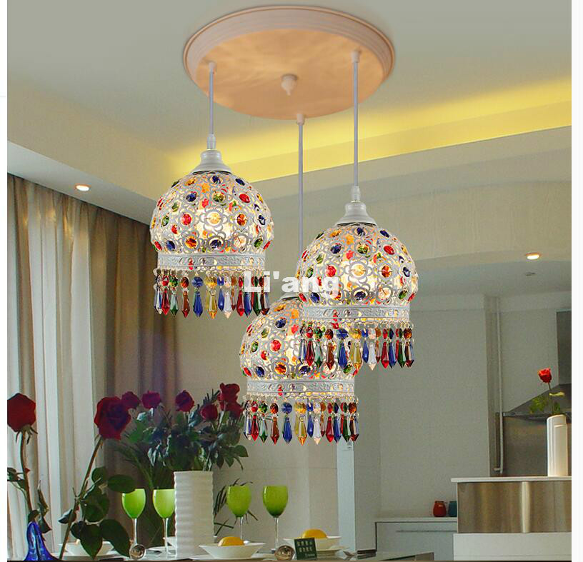 Free Shipping White Colorful Style Bohemia Pendant lamp D15cm Countryside Pendant Light 110V~220V Crystal Decora Pendant Lamp аксессуары sonance vc30r decora white