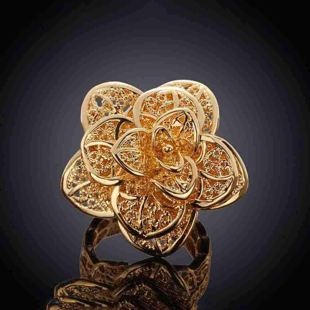 fashion Gold color simple elegant silver hollow Rose silver jewelry ring women lady hot sale gift cute  wedding R116
