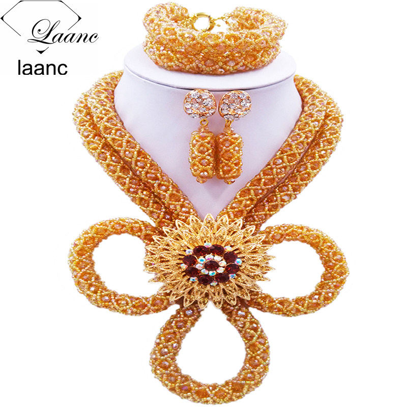 Laanc Gold AB African Beads Jewelry Set 2017 Crystal Nigerian Beaded Necklace Wedding Jewelry Sets HXLK001Laanc Gold AB African Beads Jewelry Set 2017 Crystal Nigerian Beaded Necklace Wedding Jewelry Sets HXLK001