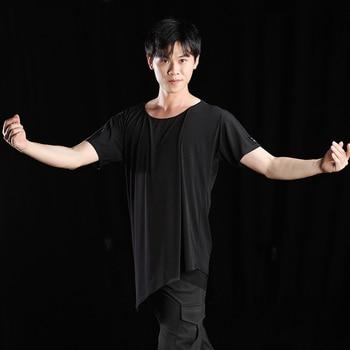 New Latin Dance Shirts Men Rumba Dancing Tops Black Short Sleeve Ballroom Shirt Latin Practice Wear Competition Costumes DQS1854