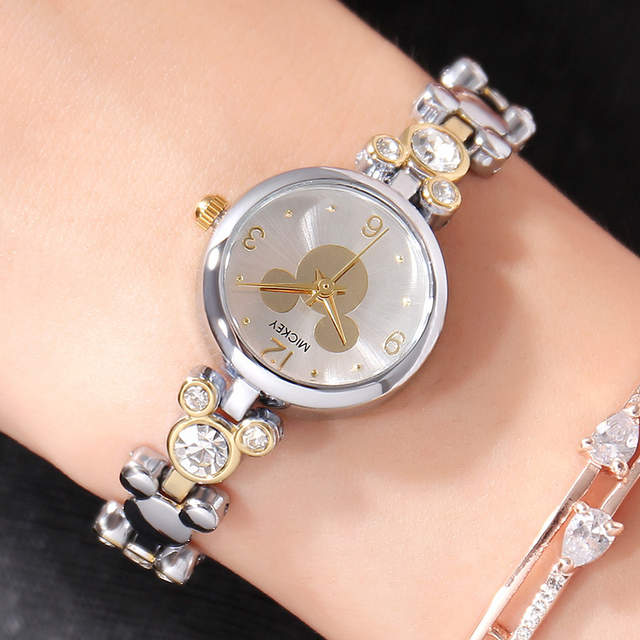 placeholder Disney Watch Women Silver Luxury Brand Fashion Rose Gold Quartz  Watches Mickey Mouse Rhinestones Stainless Steel a6d6ba2b0398