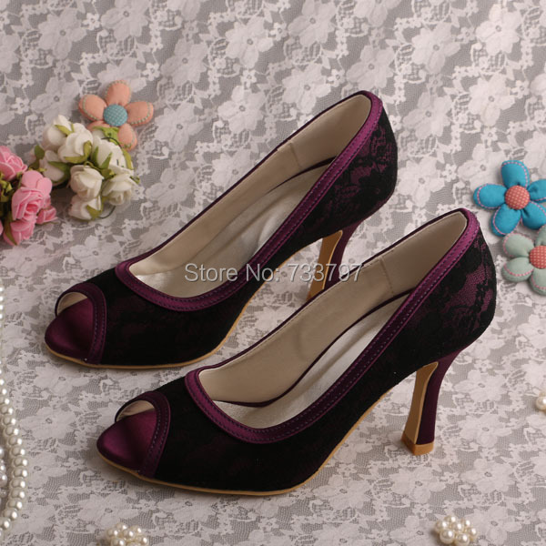 ФОТО Wedopus MW987A Custom Handmade Black Lace and Purple Satin Shoes Women Wedding Shoes Peep Toe