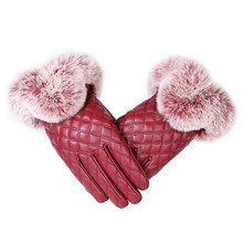 KUYOMENS Fashion Women Warm Thick Winter Gloves Leather Elegant Girls Brand Mittens Free Size With Rabbit Fur Female Gloves cheap Fur Synthetic Leather Adult Wrist Geometric K0212 Gloves Mittens